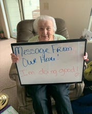 Dorothy Williams lets her family know she is doing well at the Primrose Retirement Community. Many senior care facilities have limited visitation to their residents during the ongoing coronavirus pandemic and are finding activities that follow recommended social distancing but keeps the residents engaged.