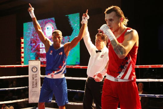 Javier Martinez reacts after being defeated by Joseph Hicks during the 2020 U.S. Olympic Boxing Team Trials at Golden Nugget Lake Charles Hotel & Casino on December 15, 2019 in Lake Charles, Louisiana.
