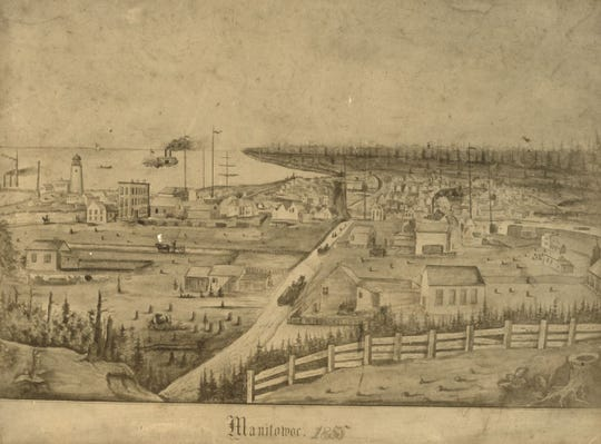 An artist's rendering of Manitowoc in 1855.