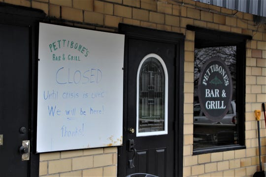 Pettibone's Bar & Grill on South Marion Street in Waldo closed its doors to the public last Saturday. Owner Ben Segaard said he plans to open again when the state-mandated shutdown of dining rooms in restaurants and bars is lifted. About 95% of Pettibone's business comes from patrons dining in, he said.
