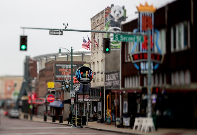 Beale Street sits empty Wednesday, March 25, 2020, in downtown Memphis.
