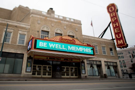 A message of wellness is displayed across the marquee Wednesday, March 25, 2020, at the Orpheum in downtown Memphis.