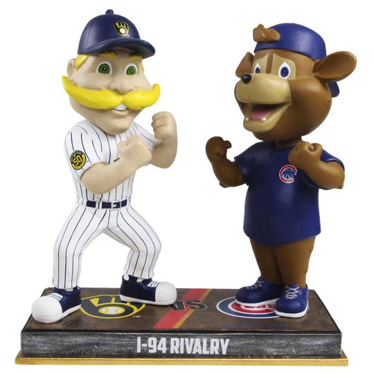 """Bernie Brewer and Clark square off in the latest """"I-94 Rivalry"""" bobblehead from the National Bobblehead Hall of Fame and Museum"""