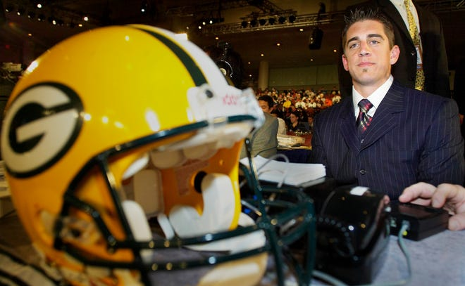 Aaron Rodgers, a quarterback from the University of California, appears after he was selected as the 24th pick, overall, in the NFL Draft by the Green Bay Packers, Saturday, April 23, 2005, in New York.
