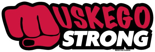 The Muskego Strong logo was created by Muskego resident Rick Petfalski. Hoodies, T-shirts and decals with these words are being sold to help local businesses and community members.