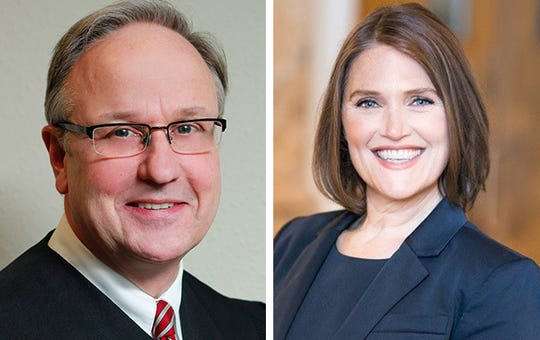 Milwaukee County Circuit Judge Daniel Gabler, left, and challenger Rebecca Kiefer