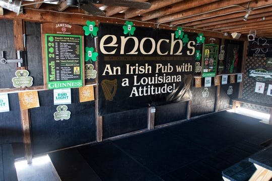 The stage at Enoch's Irish Pub in Monroe, La. sits empty on March 25 as the bar had to cancel the planned shows amidst Gov. Jon Bel Edwards closure of bars and restaurants in order to halt the spread of the coronavirus. In response area musicians have organized a Couch Concert Series to help raise funds for musicians who area impacted by the closures.