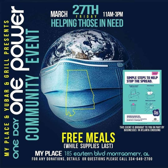 My Place is serving free meals on Friday, March 27, while supplies last.