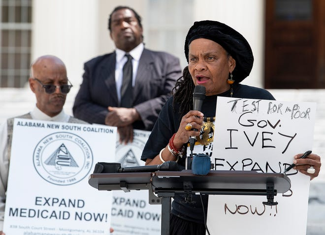 Attorney Faya Toure speaks as members of the Save OurSelves Movement for Justice and Democracy hold a press conference on the steps of the State Capitol Building in Montgomery, Ala., on Wednesday March 25, 2020 asking state leaders to approve expansion of Medicaid in Alabama.