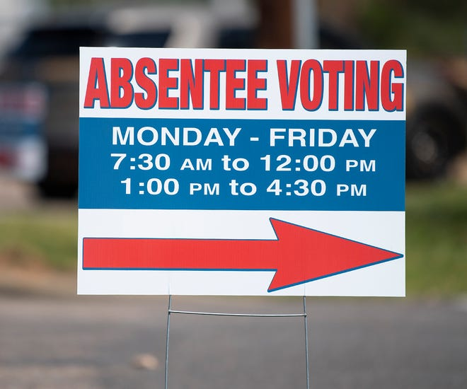 A sign directing absentee voters In Prattville, Ala., seen on Wednesday March 25, 2020.