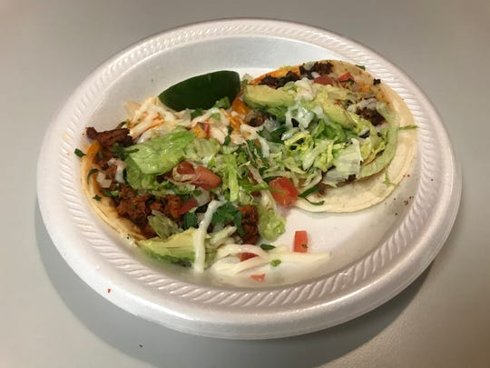 Chorizo street tacos from Taqueria Lupita in USA Mart, corner of Bradyville Pike and Minerva Drive in Murfreesboro.