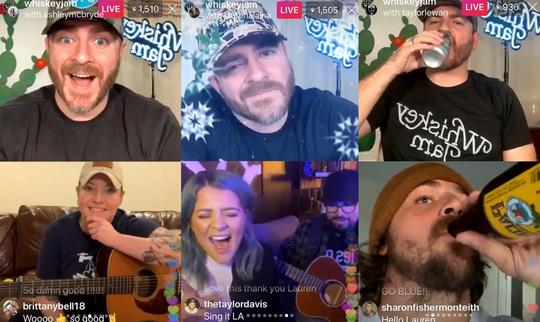 "On the ""Risky Jam"" livestream, Whiskey Jam founder Ward Guenther, top row, checks in with Nashville stars like Ashley McBryde, bottom left, Lauren Alaina, bottom center, and Taylor Lewan, bottom right."