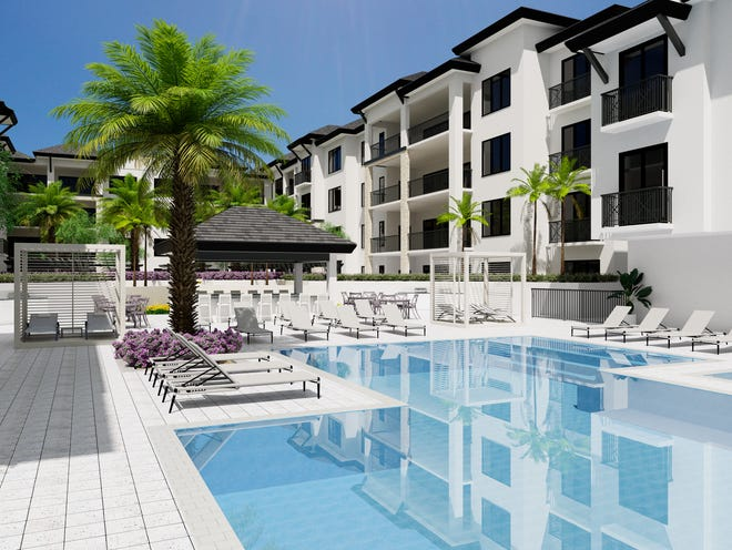 Quattro's amenity deck will include a pool and hot tub, chaise lounges, trellised seating areas and shade cabanas.