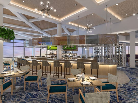 Casual and formal dining areas, a private dining room and a long, curved bar are features of the Clubhouse at Moorings Park Grande Lake.