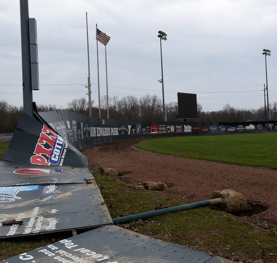 Downed outfield fencing at Don Edwards Park on Tuesday, March 24, 2020 in Newark.