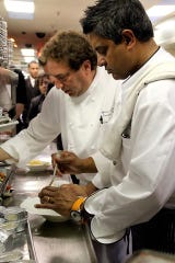 Floyd Cardoz, right, with chef Mitchell Althoz, former executive chef of the Highlawn Pavilion in West Orange.