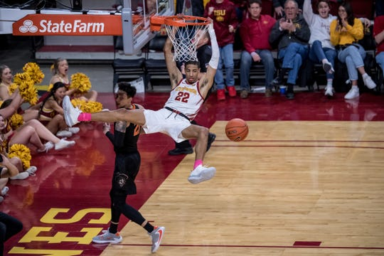 Iowa State's Tyrese Haliburton dunks during a 2019 game against Oklahoma State.
