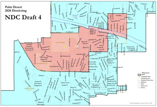 A draft map of suggested boundaries for Palm Desert's new two-district voting system. The map is among three submitted by National Demographics Corp. based on  input from the City Council. It is among several to be presented to the Palm Desert City Council for consideration on Thursday, March 26, 2020.