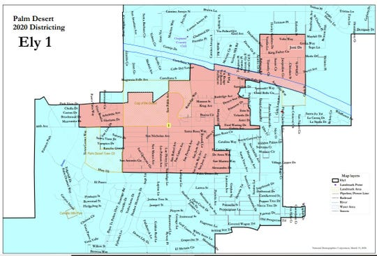 A draft map of suggested boundaries for Palm Desert's new two-district voting system, which was submitted by a demographer for the plaintiffs who sued the city over its at-large voting district. The map is among several to be presented to the Palm Desert City Council for consideration on Thursday, March 26, 2020.