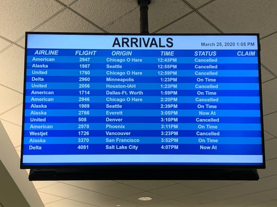 The majority of flights into and out of Palm Springs International Airport have been cancelled Wednesday, March 25, 2020, according to arrival monitors inside the airport ticket area.