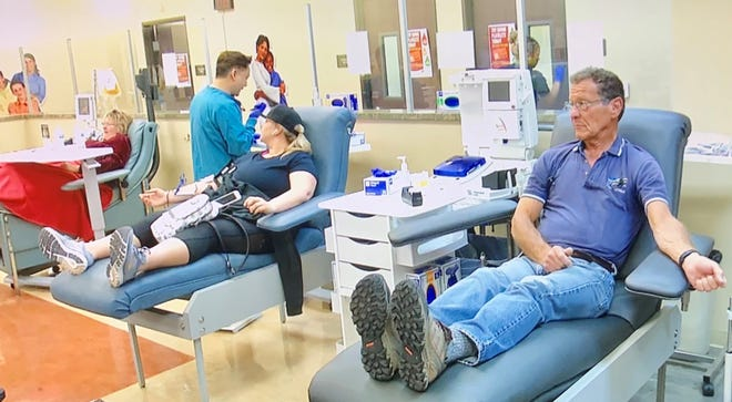 Donating blood is safe, it's easy and it saves lives. Donors are separated by six feet, and every station is sanitized after the donor leaves.