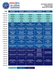 WSRE At-Home Learning schedule