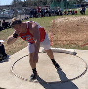 Pine Forest senior Kade Christopher prepares to throw in an undated photograph. Christopher posted one of the state's top shot put throws prior to its postponement earlier this month.