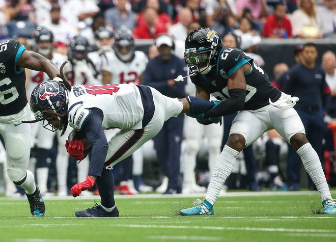 Cornerback Jalen Ramsey (20) and wide receiver DeAndre Hopkins (10) can renew their rivalry in the NFC West after Hopkins was traded to the Arizona Cardinals.