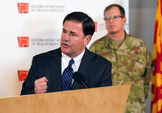 Gov. Doug Ducey holds a press conference in Phoenix on March, 25, 2020, to update the public about Arizona's preparedness for the COVID-19 outbreak.