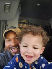 This is James Hill and his son, Gabriel. Hill is an Army veteran and truck driver based in Lancaster.