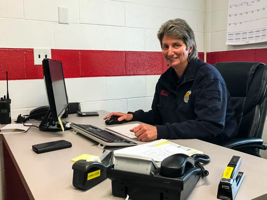 Port Huron Township Fire Capt. Ronda McLeod works in her office Monday, March 9, 2020, at the Port Huron Township Fire Station. McLeod is the department's first female captain.