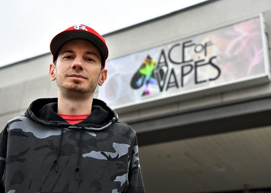 Brandon Mueller, owner of Ace of Vapes, is shown outside the vaping supply company in Springettsbury Township, Wednesday, March 25, 2020. Dawn J. Sagert photo