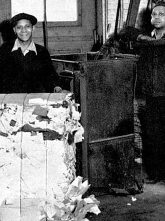 Everything could be used to support the war effort, including scrap collection seen here at York Corp., a York Plan leader in World War II. Here, George Redman, left, and Jim Redman bale paper that would be recycled into shell containers.
