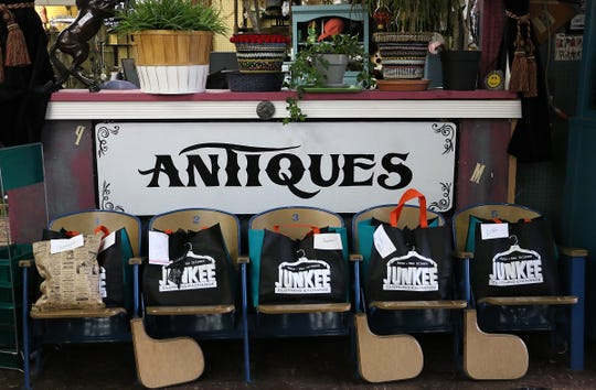 """""""Mystery bags"""" are seen waiting for distribution in Jessica Schneider's store Junkee Clothing Exchange in Reno on March 25, 2020."""