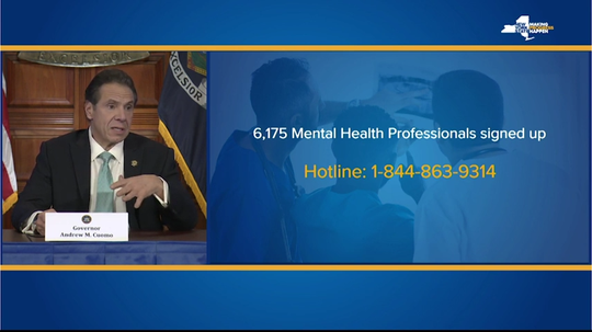 Gov. Andrew Cuomo discusses the state mental-health hotline set up as part of New York's coronavirus response; March 25, 2020.
