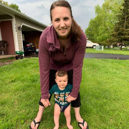 Tracey Mendicino of Webster, here in 2019 with her son Sam, is expecting her second child in July.