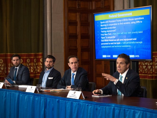 Gov. Andrew M. Cuomo provides a coronavirus update during a press conference in the Red Room at the State Capitol in Albany on March 25, 2020.
