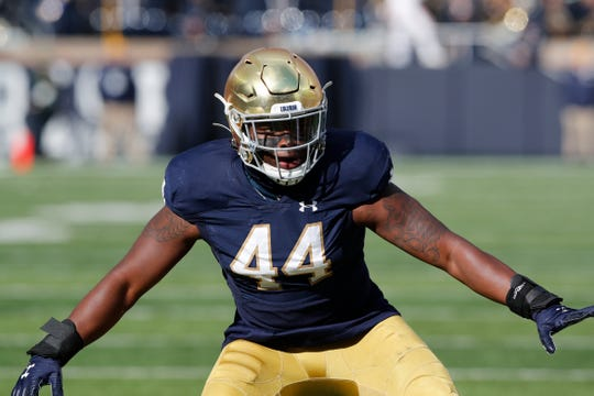 Notre Dame defensive lineman Jamir Jones (44) , shown in action last season will take part in a pro day on April 4 at Irondequoit Sports Complex.