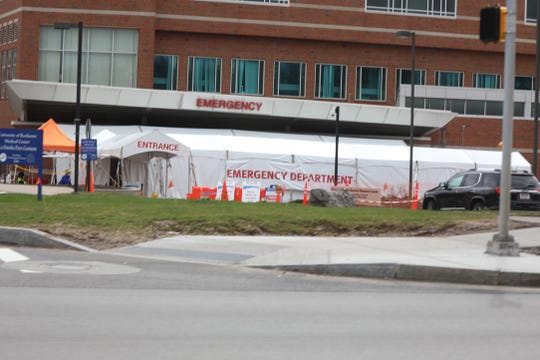 The Emergency Department at Strong Memorial Hospital has tents set up outside to deal with potential patients with COVID-19 on March 25, 2020.