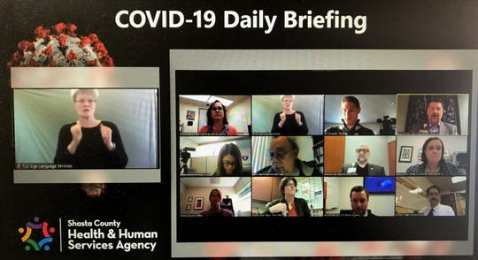 Screenshot shows Wednesday's online press briefing conducted by the Shasta County Public Health Department.