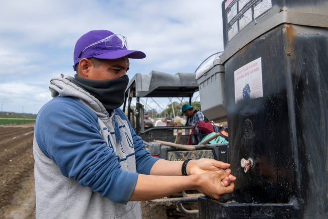 A fieldworker wearing a face mask washes his hands after lunch. This worker talked to me about how important it is to wash your hands and wear the right safety gear at work on March 24, 2020.
