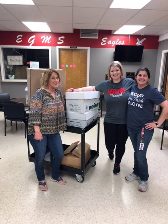 Administrators from 10 Bossier Parish schools gathered medical suppoes and donated to Willis Knighton for health care workers.
