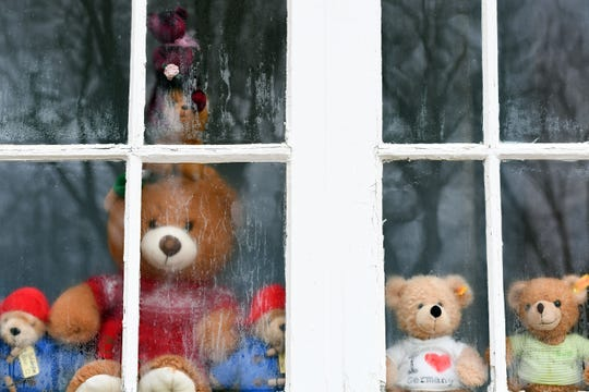 Houses near McKennan Park display teddy bears in their windows to create a scavenger hunt for kids home from school on Wednesday, March 25, in Sioux Falls.