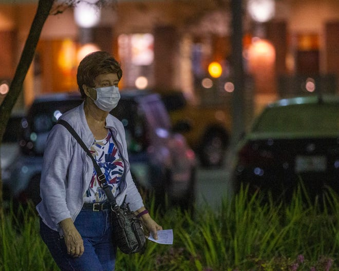 About 15 senior Tallahasseeans lined up outside of the Publix located in Governors Crossing II to shop during senior hour, Wednesday, March 25, 2020. Many wore gloves or a mask, and brought their own antiseptic wipe to clean their shopping cart.