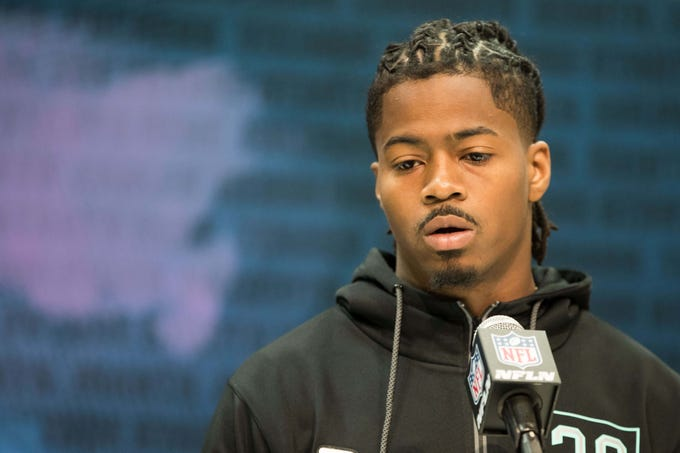 Feb 28, 2020; Indianapolis, Indiana, USA; Florida State defensive back Stanford Samuels (DB30) speaks to the media during the 2020 NFL Combine in the Indianapolis Convention Center. Mandatory Credit: Trevor Ruszkowski-USA TODAY Sports