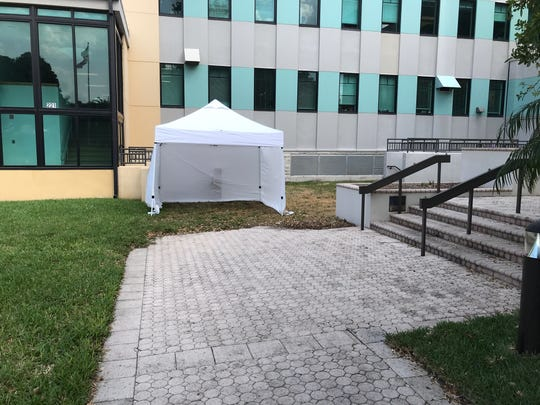 Tent outside St. Lucie County courthouse