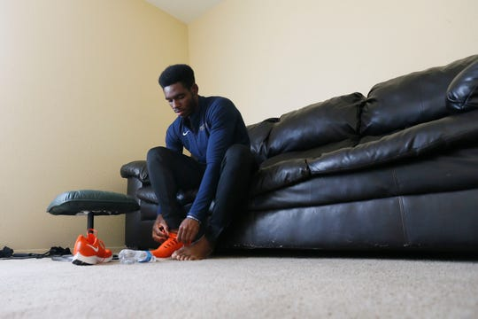 "UTEP track athlete Sean Bailey at his apartment Wednesday, March 25, near campus in El Paso. Bailey could go home to Jamaica but he has decided to ""shelter in place"" during the COVID-19 pandemic. Bailey's goal this year was to qualify for the Tokyo Olympics, which has now been pushed back at least a year."