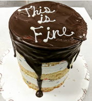 """""""This is fine,"""" a saying that appears in both the movie """"Frozen 2"""" and a meme that features a cartoon dog sitting in a burning room, decorates a customized quarantine cake at Cafe Ficelle in Ventura."""