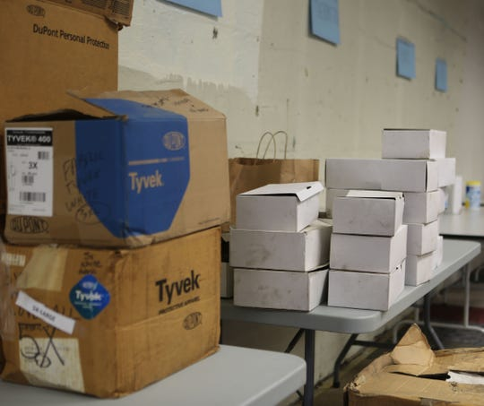 Medical supplies including masks, gowns, gloves and other items were donated to Christiana Care workers Wednesday morning in Newport.