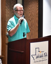 Michael Morrison, owner of Cash N More Pawn and Jewelry, speaks during the Wichita Falls City Council Special Session Wednesday morning, where the possibility of shelter in place was brought up.
